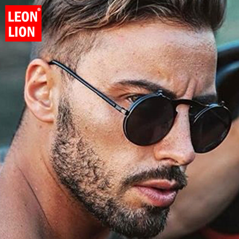 LeonLion 2019 Steam punk Sunglasses Men Fashion 2019 Street Beat Round Eyeglasses Outdoor Oculos De Sol Feminino UV400|Men