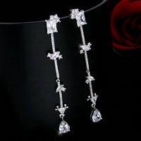 Micro Zircon Fashion Ice Earrings Multi Shape Crystal Zirconia Mosaic Earrings Women S Long Style Marble
