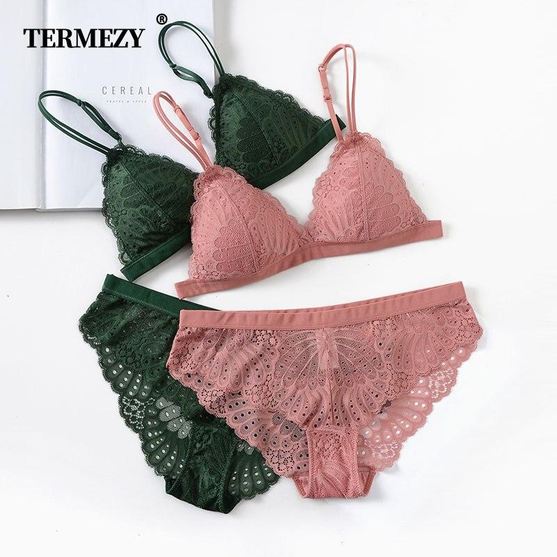 TERMEZY Sexy Lace Bra Set Lingerie Set Women Wireless Underwear Set Solid Color Bralette Set VS Bra Soft Comfortable Underwear