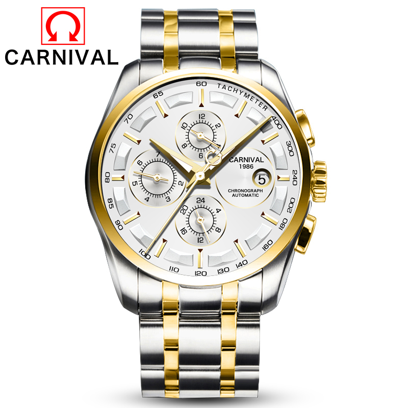 Carnival Watch Men Automatic Mechanical Gold Stainless Steel Waterproof multifunction White Watches цена и фото