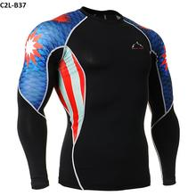 Men's Cycling Base Layer Sports Underwear Long Sleeve Compression Tight 3D PrintsT-shirt Gym Fitness Weight Lifting Shirts
