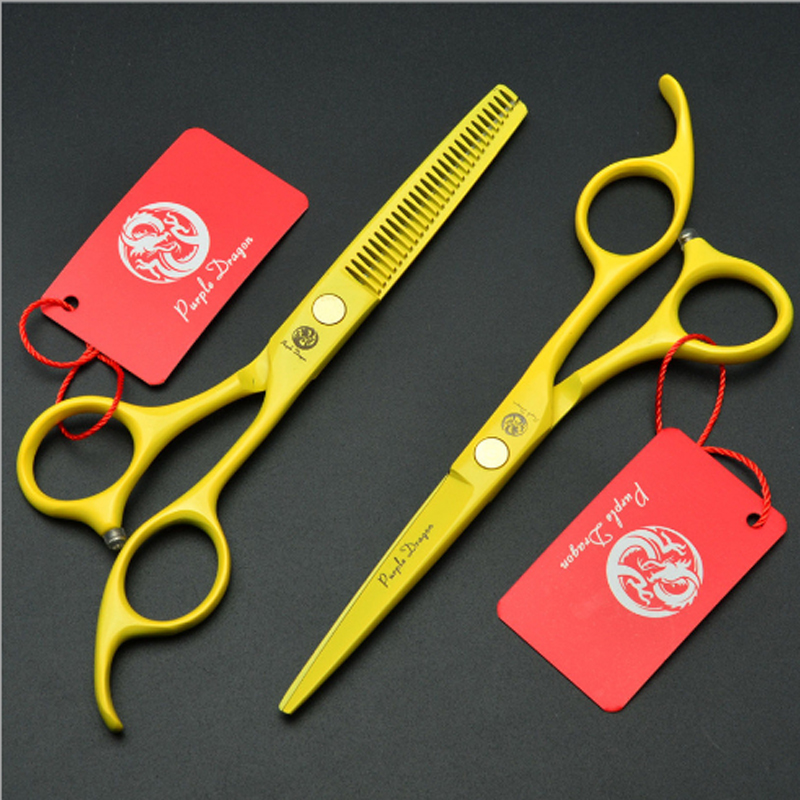 Purple Dragon Yellow color Hair Scissors 5.5 inch hairdressing and cutting scissors Set Salon Barber