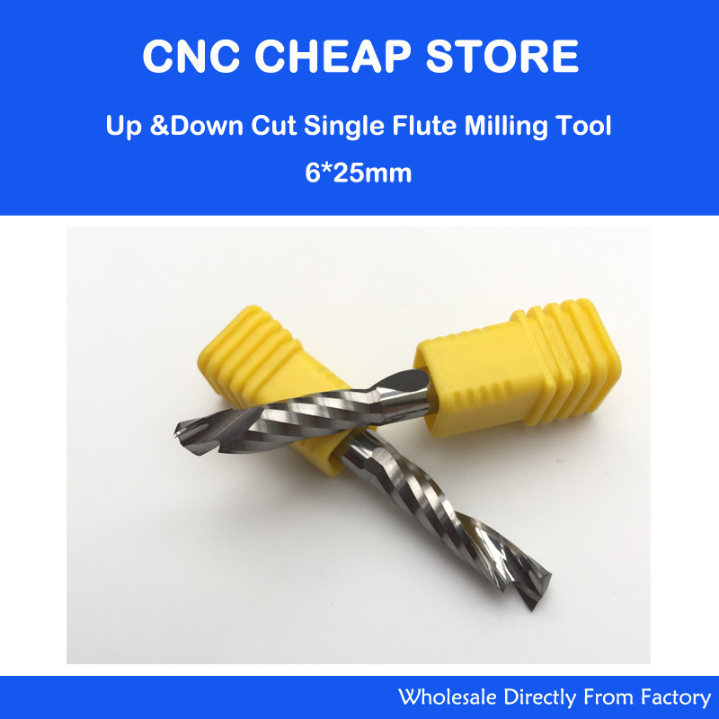 6x25MM Up &Down Cut- One Single Spiral Flute Carbide CNC Mill Milling Tools, Milling Cutter,Woodworking Cutting Tools Router Bit 5pcs woodworking 3 flute shank 6mm cnc router bits mill spiral cutter tungsten carbide density board carving tools cel 28mm