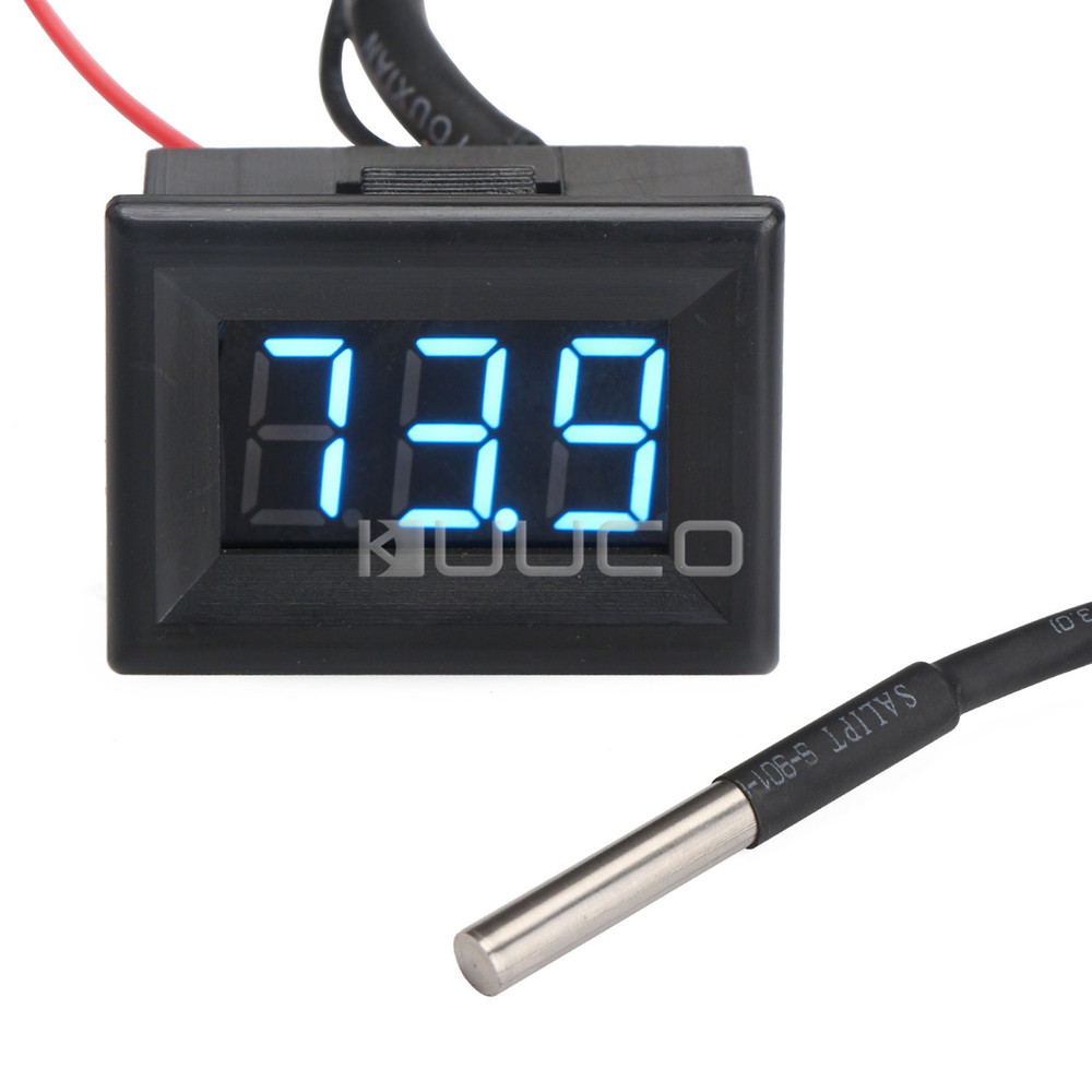 DC12V 24V Thermometer -67~+257 Fahrenheit Degrees Blue Led Digital Temperature Meter for Car/Pet House/Greenhouse/Laboratory etc dc12v 24v digital meter 20 100 degrees celsius thermometer dual display temperature meter for car water air indoor outdoor etc
