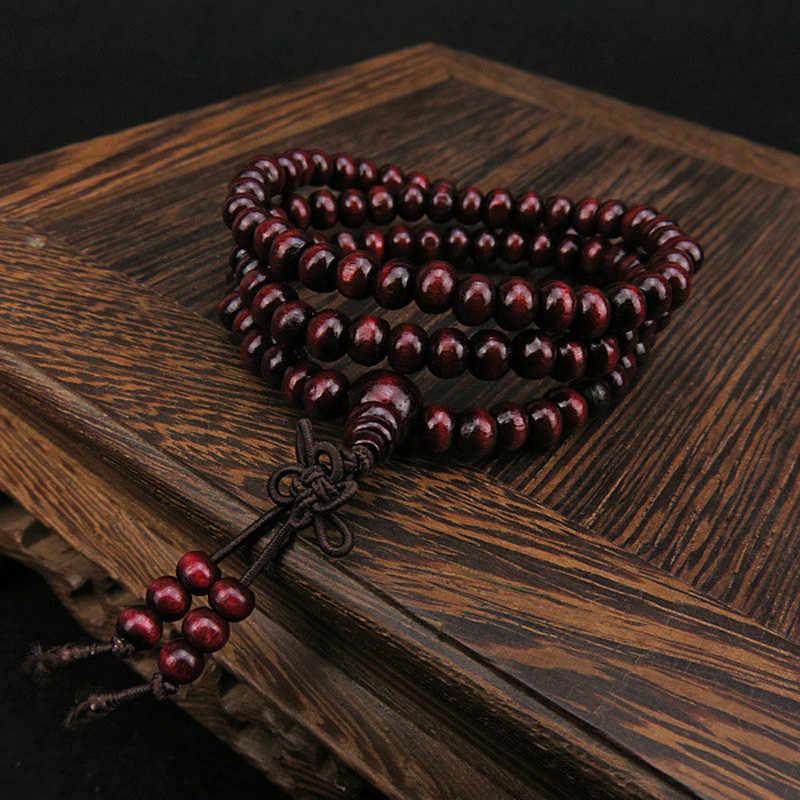 6mm Sândalo Natural Pulseira 108 Contas De Oração De Madeira clássica Cordiais Sincero Bead Bracelet Jóias Trinket Buda Pulseiras