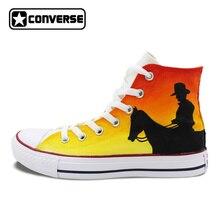 Высокие Converse All Star Original ручная роспись обувь Дизайн Запад Ковбой Холст кроссовки для Для мужчин Для женщин