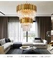 Бесплатная доставка  Подвесная лампа в современном скандинавском стиле с кристаллами  золотая  роскошная  большая люстра  современные двой...