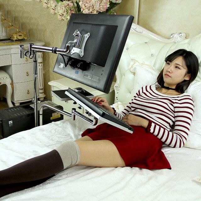 DL OK610 Bedside Moving Laptop Stand Adjustable Sofa Computer Monitor Holder Mount +Keyboard Holder Rotating Laptop Table Lapdes