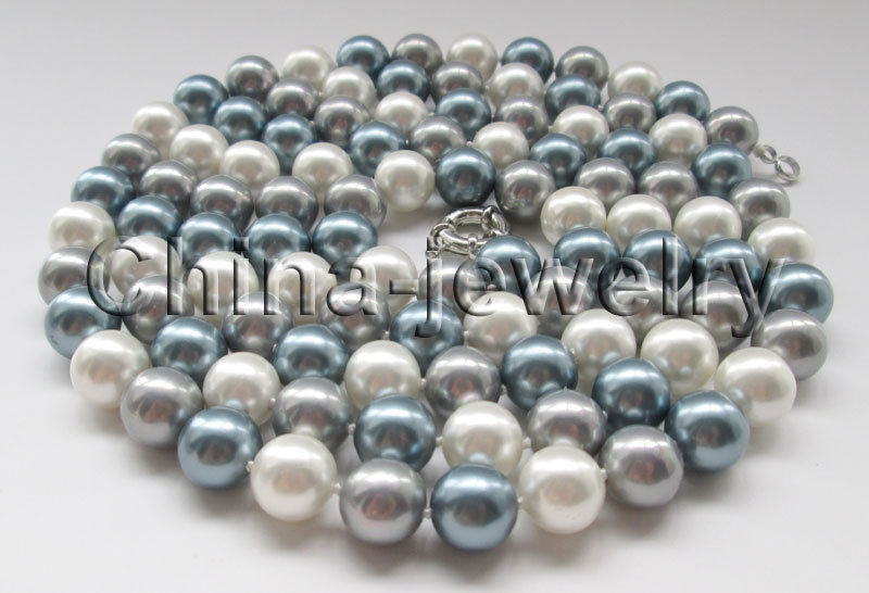 FREE SHIPPING HOT sell new Style >>>> 50 longer 12mm white gray dark gray round south sea shell pearl necklace