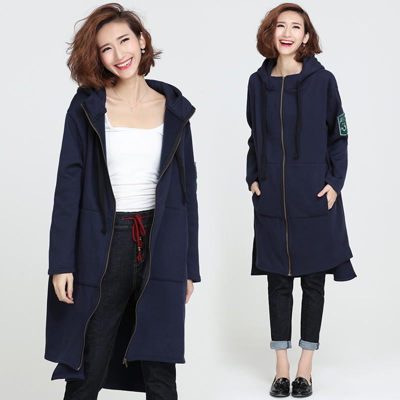Woman Spring Autumn Coats Casual Straight Long Seleeved Hooded Plus Size Jacket Ladies Medium Long Letter