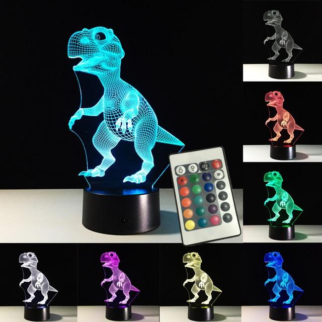3D Dinosaurus Lamp Afstandsbediening Touch Schakelaar Kleur ...