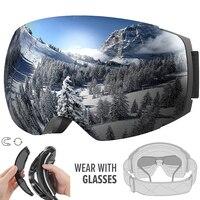 Ski Goggles PRO Frameless, Interchangeable Lens 100% UV400 Protection Snow Goggles for Men & Women
