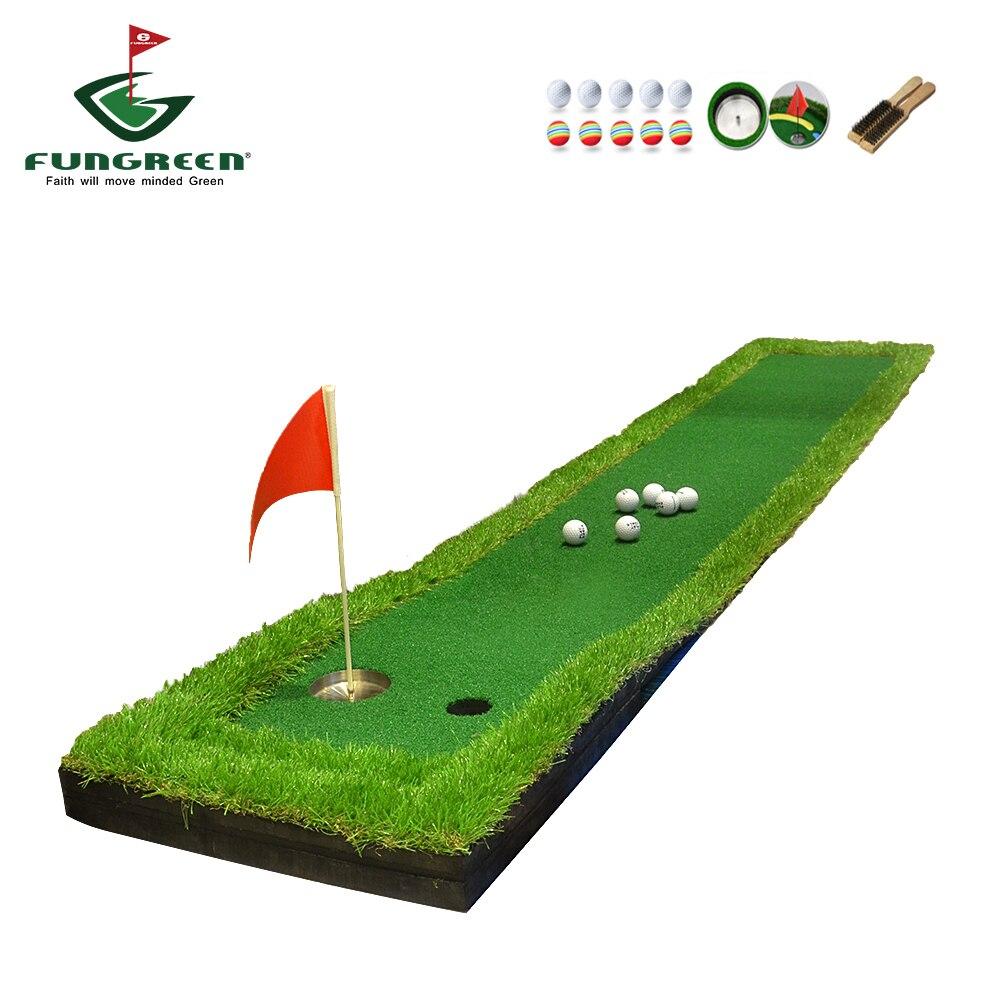 """FUNGREEN 50x300 ס""""מ מיני גולף לשים ירוק מקורה חיצוני בחצר האחורית Protable בפועל גולף לשים מאמן מחצלת עבור שחקני גולף"""