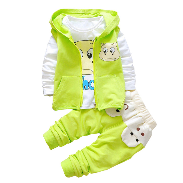 2017 Fashion leisure Toddler Boys Clothing Set Spring Autumn Hooded Coat Suits 3PCS Cute Cartoon hippo pattern Baby Boys Clothes