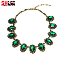 Vintage Green And Red Crystal Necklace Female Short Retro Necklace 2014 Cheap Choker Necklace