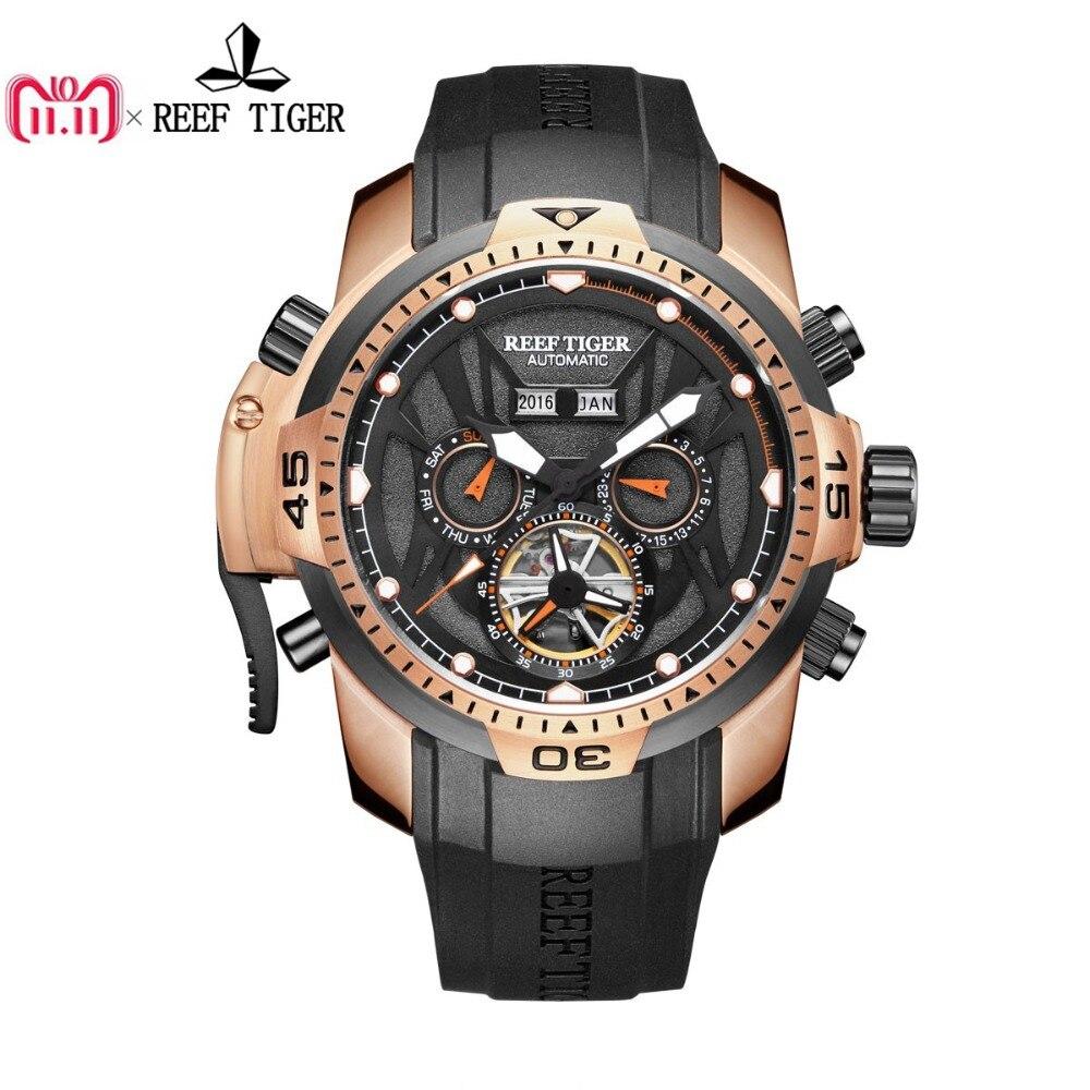 лучшая цена Reef Tiger/RT Sport Watch Men Big Rose Gold Transformer Edition Waterproof Military Watches Mechanical Wrist Watch RGA3532