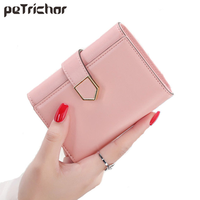 5e2bdf8e9b Solid Hasp Women Short Purse Fashion Style Leather Small Luxury Brand Designer  Ladies Wallets and Purses Card Holder Small Bag