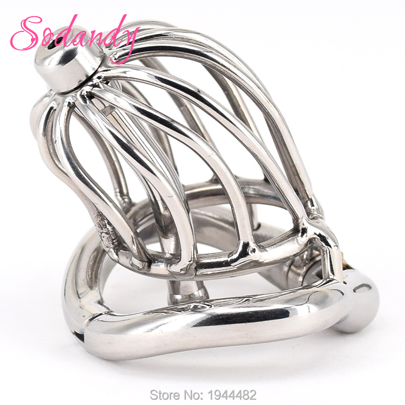 SODANDY 2018 Male Chastity Devices Mens Cock Cage Stainless Steel Penis Restraints Locking Cock Ring with Urethral Catheter fifty shades of grey secret weapon vibrating cock ring стильное эрекционное кольцо с вибрацией