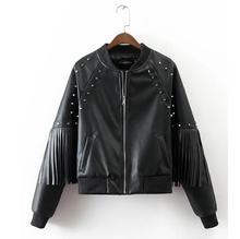 2017 new vogue PU Faux leather-based Jackets Coats girls rivet tassel lengthy sleeve Motorcycle Jackets outwear s365