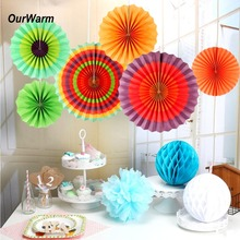 OurWarm 6Pcs Colored Paper Fans Mexican Party Decorations Hanging Flowers Fiesta Backdrop Birthday New year