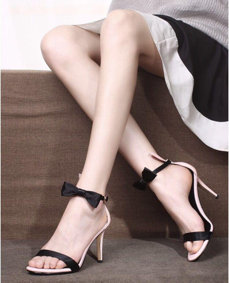 ФОТО Women's Sexy Thin High Heel Open Toe Evening Pumps Brand Designer Ankle Strap Sweet Bowtie Elegant Ladies Heeled Summer Shoes