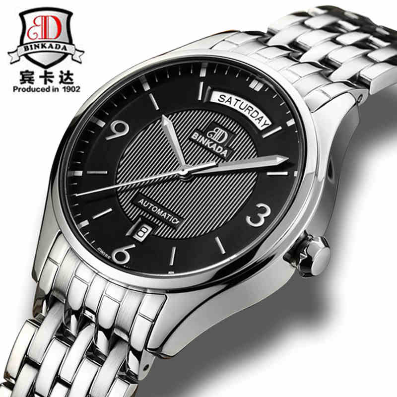 Fashion Watches Men Luxury Brand BINKADA Automatic Mechanical Watch Waterproof Auto Date full steel Wristwatch relogio masculino binkada men watch automatic mechanical full steel watches date calendar water resistant watch