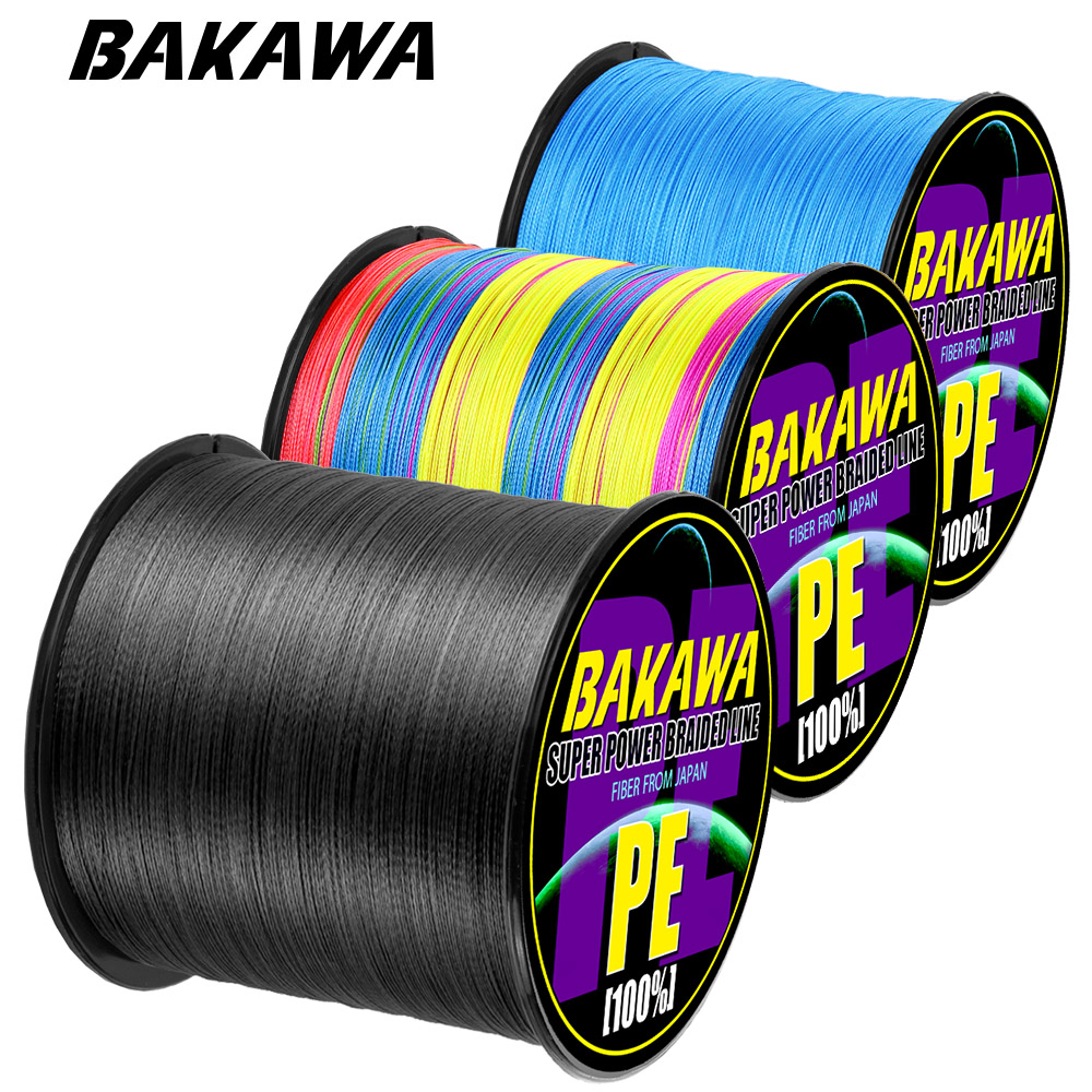 BAKAWA Brand 300M PE Braided Fishing Line 4 Strand 10-120LB Multifilament Fishing Line for Carp Fishing Wire for All Fishing