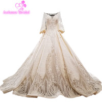 AOLANES 2018 Luxury Champagne Satin Long Sleeves V neck Bridal Gowns Cathedral Train Backless Ball Gown Vintage Wedding Dresses