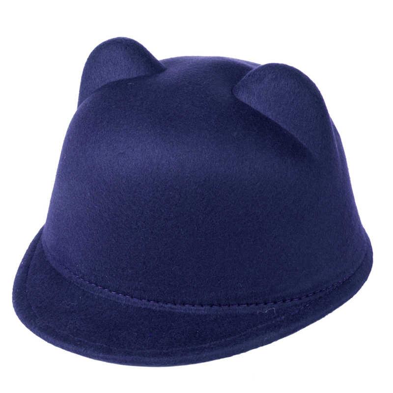 2017 lane di modo cappello da baseball bambino ragazza ragazzo snapback con Devil Horns Cute Cat ear cappello animale Derby Bowler belle Cap