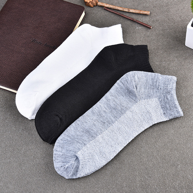 5pair Men Socks Brand Quality Polyester Casual 3 Pure Colors Breathable Socks Calcetines Mesh Short Boat Socks For Men Meias