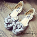 Free shipping women's summer sweety flowers square toe flats, female fashion grey color flower wedding flats,35-39