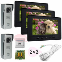 2v2 Color Video Door Phone Intercom Two 700lines HD Outdoor Units Two 7 Lcd Free Shipping