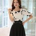 2017 mulheres camisa verão tops floral preto bordado branco chiffon blusas plus size arco meia manga shirt women clothing