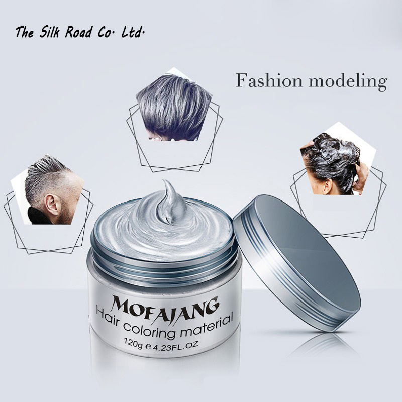 Hair color wax dye one-time molding paste seven colors available BLUE Burgundy grandma gray Natural Permanent Super Hair Dye