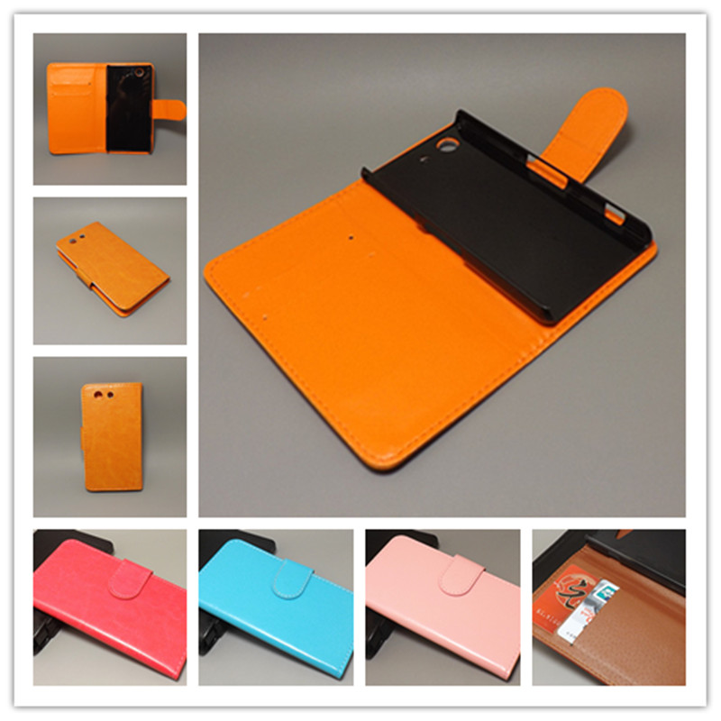 Crazy horse wallet case hold two Cards with 2 Card Holder and pouch slot For Sony Xperia Z3 Compact Case Mini M55W