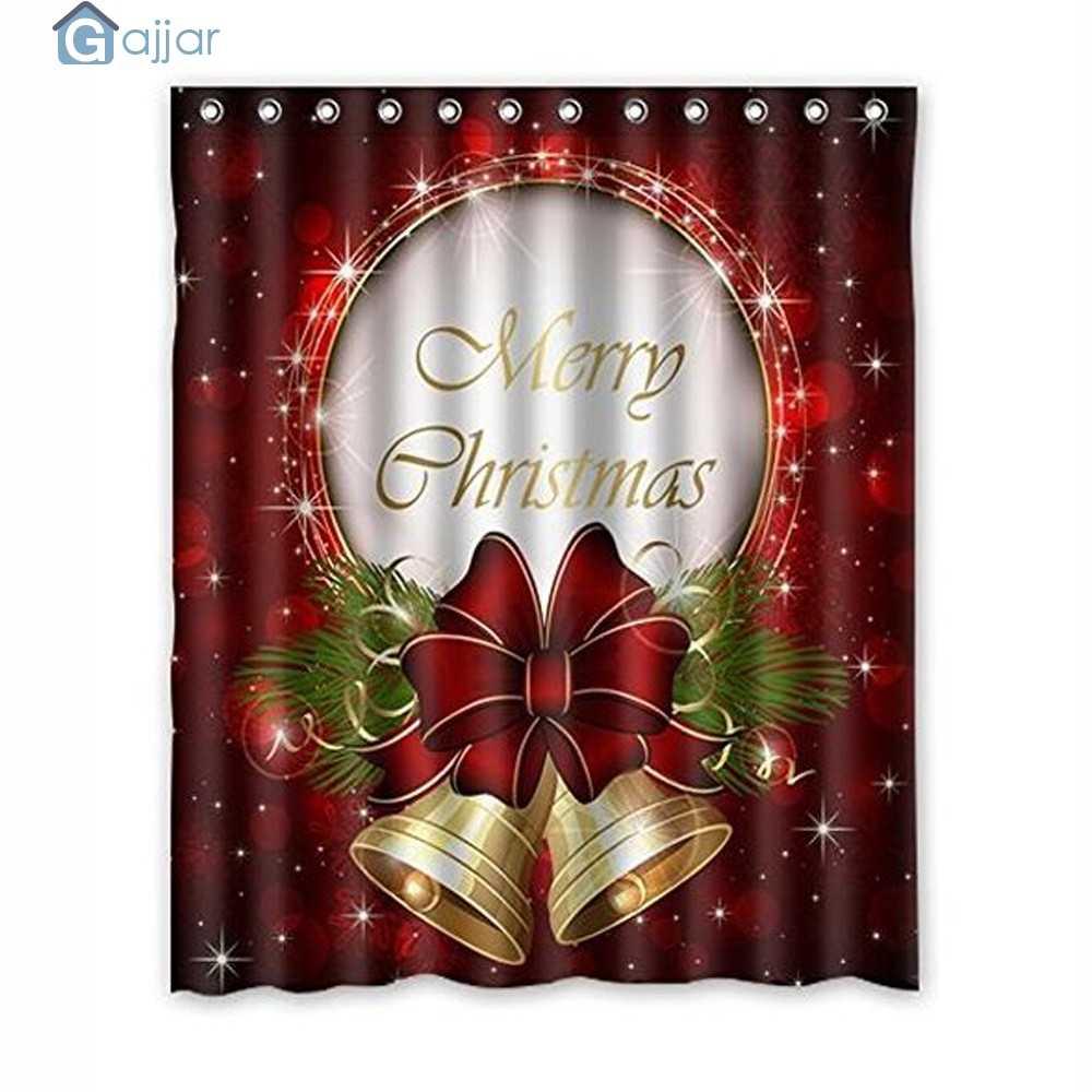 2019 الساخن بيع عيد الميلاد للماء البوليستر الحمام دش الستار ديكور مع السنانير المنزل الكرتون دائم الستار 18Oct23