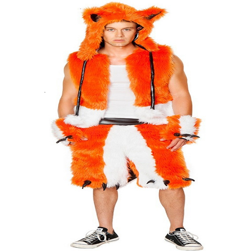 Men' Furry Animal Cosplay Outfit Male Handsome Orange
