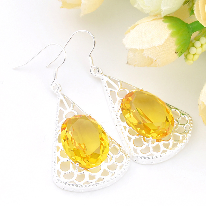 Europe and America New Beautiful yellow spar Earrings Elegant Earrings For Women