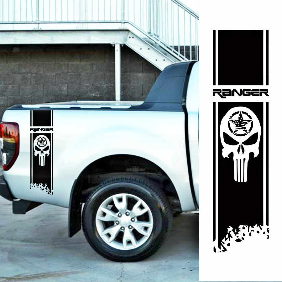Free Shipping 2pc Ranger Box Bed Skull Stripe Car Stickers For Ford Ranger Or Wildtrack 2012 2013 2014 2015 2016 2017 Cargo Box