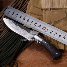 WTT High Quality Forged Handmade Fixed Blade Knife With Wood Handle Tactical Camping Full Tang Knife Combat Knives Utility Tools