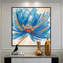 100% Hand Painted Abstract Big Flowers Art Painting On Canvas Wall Adornment Pictures For Live Room Home Decor