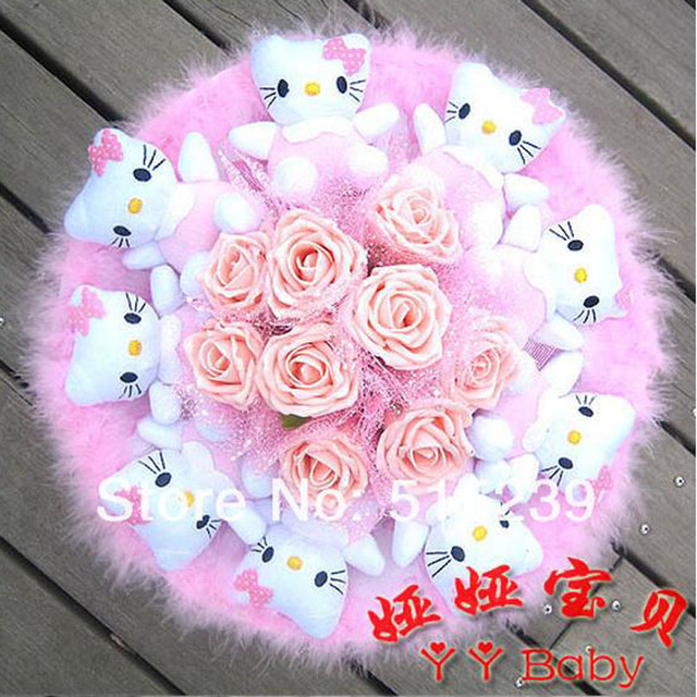 Cartoon bouquets 9 KITTY 9 Glitter Rose Doll Bouquet Fake Flowers ...