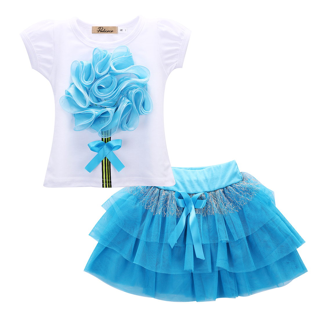 New Fashion Pink&Green& Red& Blue Flower Cute Girl Princess Dress Kid Baby Party Wedding Pageant Tulle Tutu Dresses 2-6Y