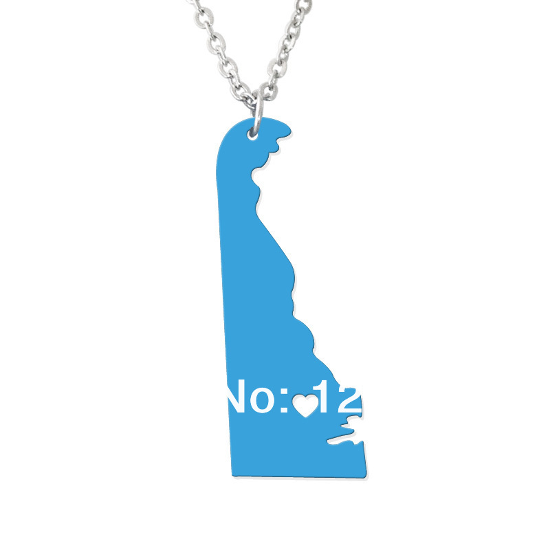 State jewelry - I heart Delaware Necklace - Map Pendant - State Charm - Personalized Montana Map Heart necklace