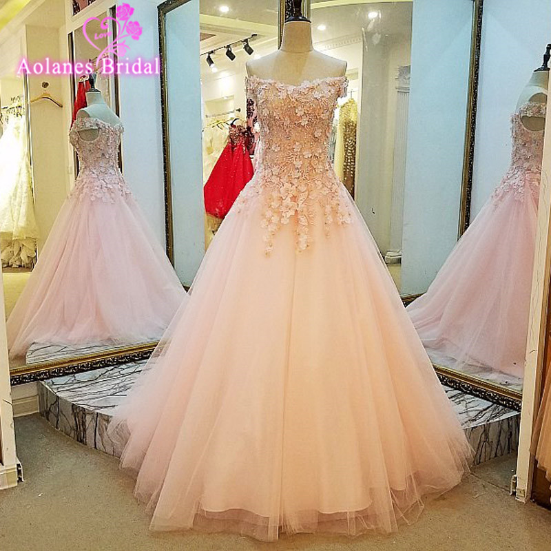AOLANES Sparkly Lace Appliques Pearls Luxury Long Ball Gown Elegant Pink Formal Evening Dresses Gowns 2017 Real Photo Prom Dress
