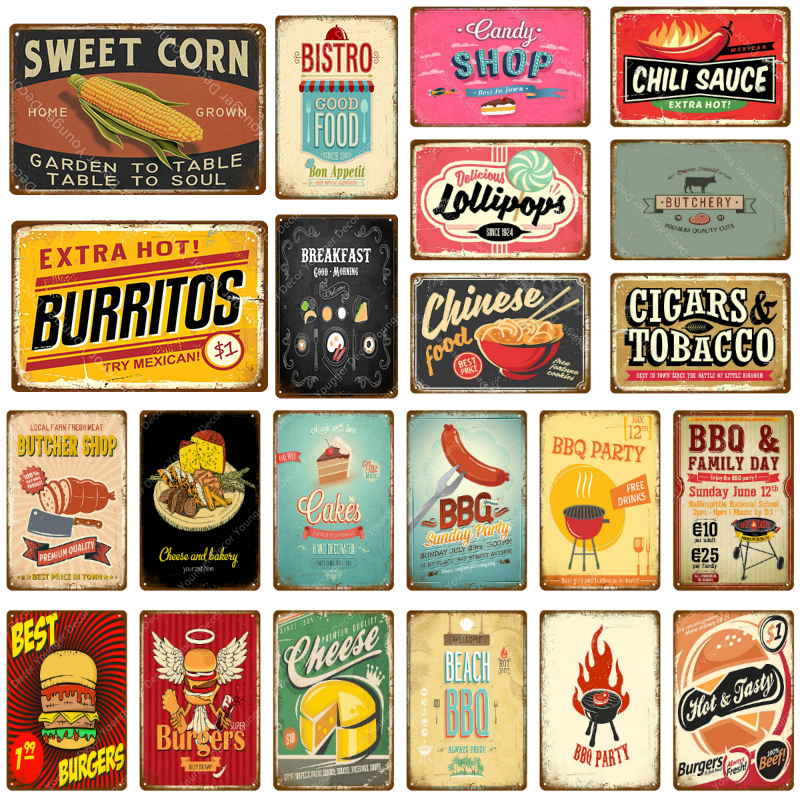 Retro metal Sign//Plaque Wall vintage Chili/'s Kitchen Gift