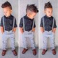 VICVIK marca Legal Meninos Camisa Cavalheiro Suspensórios Calças Roupas Define Crianças Desgaste Do Partido Roupas de Alta Qualidade para a Criança