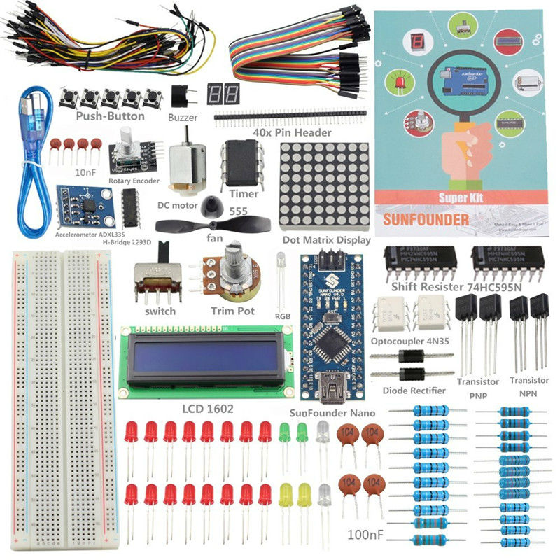 SunFounder 19 Projecst Super Starter Kit v2.0 with Mini USB Nano V4.0 ATmega328P 5V Micro-controller Board For ArduinoSunFounder 19 Projecst Super Starter Kit v2.0 with Mini USB Nano V4.0 ATmega328P 5V Micro-controller Board For Arduino