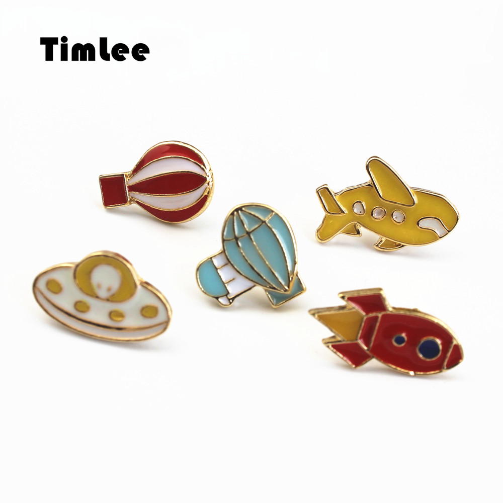 Timlee X019 Free shipping Cute Hot air balloon Rocket Airplane Brooch Pins,Fashion Jewelry Wholesale image