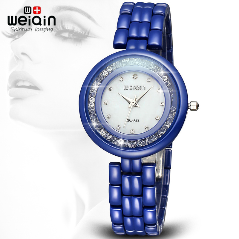 WEIQIN Ultrathin Rhinestone Full Ceramic Watches Women Luxury Brand Hardlex Shell Dial Lady Fashion Watch Butterfly Buckle Clasp matisse lady austria full crystal dial